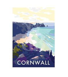 Cornwall is available to buy at www.beckybettesworth.co.uk #vintage #devonartist #seasideprints #travelposters #cornwall #beach #surfing #beckybettesworth #giftideas #freedelivery