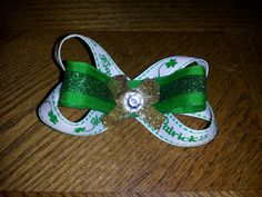 St. Patrick's Day hair bow that I made for my for my oldest daughter.