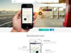 nextr app landing page by Bureau Oberhaeuser App Landing Page, Best Web Design, Interface Design, Web Design Inspiration, Web Development, Digital, Promotion, Desktop, Apps
