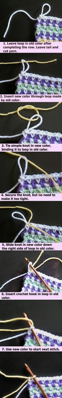 Changing yarn invisibly on crochet. Really neat crochet trick. Crochet Diy, Love Crochet, Learn To Crochet, Crochet Crafts, Yarn Crafts, Crochet Hooks, Crochet Change Color, Crochet Ideas, Crochet Basics
