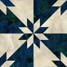 """HUNTER STAR. Free quilt pattern with templates for 12"""", 10"""", and 6"""" blocks. Online calculator for fabric amounts needed for the size of quilt you want to make. http://www.jinnybeyer.com/quilting-with-jinny/design-board/design-board/index.cfm?blockid=207"""