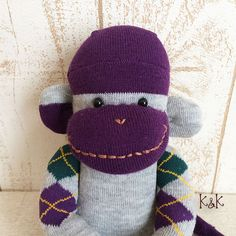 Sock Monkey Doll Boy 96  Argyle Sock Monkey by KnKCraftsAndDesigns