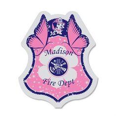 Pink Junior Firefighter Foil Sticker Badge, Custom - Foremost Promotions