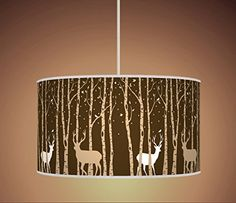 Drum lampshade british woodland fabric covered lamp shade 19cm up 30cm trees stag deer brown beige latte retro handmade giclee style printed fabric lamp drum aloadofball Gallery