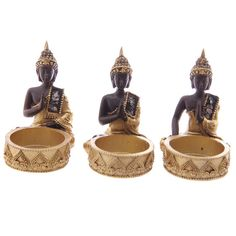Set of 3 Thai Buddha Gold and Brown Tealight by getgiftideas