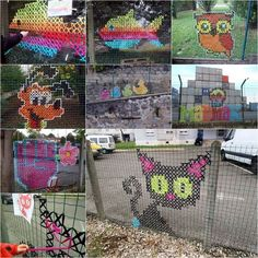 At first glance, you might think this is some kind of painting on the fences. Actually they are handmade cross-stitched murals. You might have seen cross-stitch being put into a frame and used as a wall decor, but have you ever seen these giant work of embroidery on fences? Urban X Stitch, …: