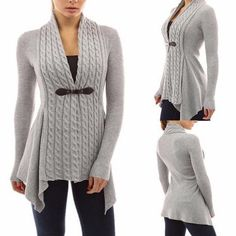 Cardigans: Twist Knit Cable Sweater With Long Sleeve, Asymmetrical Hem and Leather Strap Closure: 5 Colors!