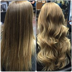 A sombrè before and after:) Whitney is ready for summer! #wella #freelights