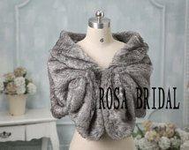 faux fur bridal wrap shrug stole shawl cape wedding faux fur wrap Custom size