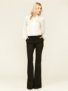 Rachel Zoe Hutton Brocade Tuxedo Pant & Sawyer Silk Tie Neck Blouse....I am officially obsessed with Rachel Zoe's line