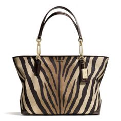 The Madison East/west Tote In Zebra Print Fabric from Coach