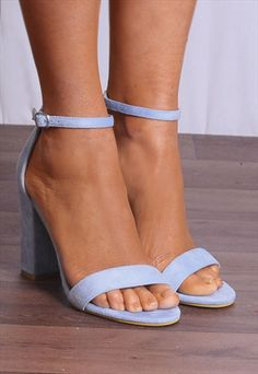 2cdf747fea8a10 BABY BLUE BARELY THERE STRAPPY OPEN TOE SANDALS HIGH HEELS-SHOE CLOSET Blue Sandals  Heels