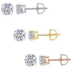 5.00ct Round Brilliant Cut Moissanite Diamond 10k White Gold Stud Earrings | eBay