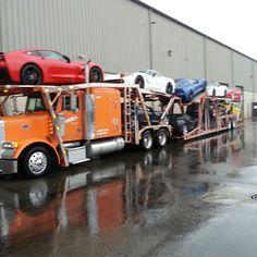Big Rig Trucks, Semi Trucks, Old Trucks, 1965 Corvette, Chevrolet Corvette, Transport Pictures, Car Dealerships, Freight Truck, Car Carrier