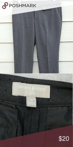 "Banana Republic  Slim Leg Trousers Banana Republic  6 Gray Ryan Fit Polka Dots Slim Leg Trouser Dress Pants Career  Length:34"" Waist:15.5"" Inseam:27""  Gently used with no flaws. Please see photos for exact details. Thank you for patronizing us. Banana Republic Pants Trousers"