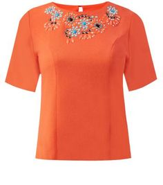 """Jumpo. Stand out in an orange bead embellished top. Add blue jeggings and stone heels to finish.- Bead embellishment- Scallop neck- Keyhole back- 1/2 sleeves- Casual fit- Soft finish- Model is 5'8""""/176cm and wears UK 10/EU 38/US 6"""