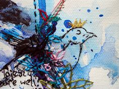 superstition detail @Karen Grenfell - Watercolour and embroidery on canvas