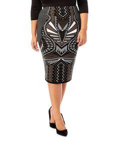 Look what I found on #zulily! Black Geometric Knit Pencil Skirt - Plus #zulilyfinds