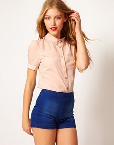 ASOS Blouse With Scallops And Laser Cutting