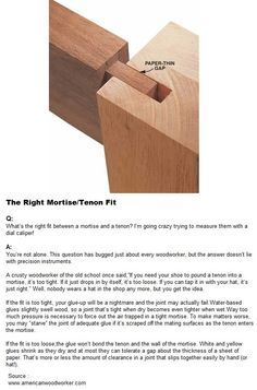 The Right Mortise Tenon Fit