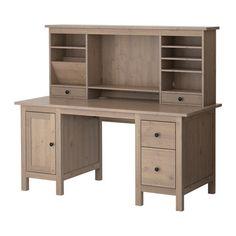 HEMNES Bureau met aanbouwdeel - grijsbruin - IKEA