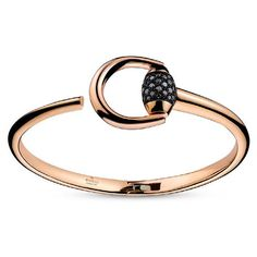 Gucci Horsebit Black Diamond Rose Gold Bracelet ($5,000) ❤ liked on Polyvore featuring jewelry, bracelets, rose gold jewellery, rose gold jewelry, gucci, polish jewelry and hinged bangle