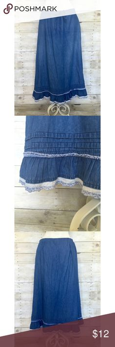 """Vintage Para denim skirt M Vintage Para brand lightweight denim skirt. Drawstring waist with ruffled hem and side zipper. Vintage size 14 equates to a 4/6 today. Waist measures 15"""" flat (and cinched from there) and skirt is 31"""" long. Hits above ankles. Super cute! EUC. Para Skirts Midi"""