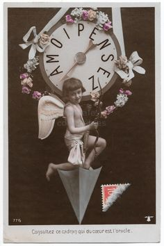 Little Boy Cupid antique real photo postcard, Winged Child with Bow on Giant Pendulum Clock, Think of Me Vintage tinted postcard RPPC by maralecollectibles on Etsy Photo Postcards, Vintage Postcards, Vintage Photographs, Vintage Photos, Bell Logo, Pendulum Clock, Vintage Scrapbook, Very Lovely, Belle Epoque