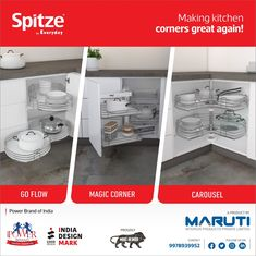 Spitze by Everyday make the corners of your kitchen more functional. #KitchenCorners #KitchenDecor #CornerSolutions #CornerStorageSolutions #CornerKitchenCabinets #KitchenCornerUnit