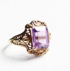 Vintage amethyst filigree ring / diamentdesigns on etsy