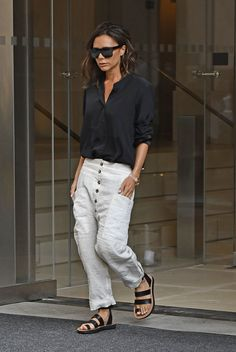 Back in Black: Victoria Beckham's Button-Up Blouse and Linen Trouser Look for Less - The Budget Babe | Affordable Fashion & Style Blog