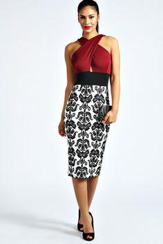 Talia Contrast Colour Bodycon Dress at boohoo.com
