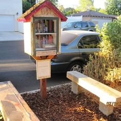 little free library with bench | Little Free Library - Benches available for reading enjoyment - Los ...