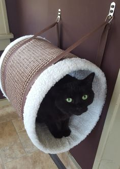 Caramel Hanging Cat Tunnel / Cat Perch / door CatFurnitureBoutique