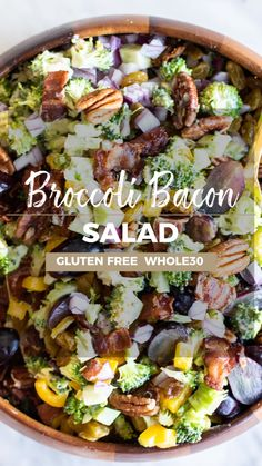 A delicious Broccoli Salad with bacon as the star of the show! Enjoy thi… A delicious Broccoli Salad with bacon as the star of the show! Enjoy this mayo free broccoli salad as a side dish or main course. Gluten Free Recipes Videos, Healthy Recipe Videos, Bacon Recipes, Raw Food Recipes, Healthy Dinner Recipes, Easy Whole 30 Recipes, Paleo Meals, Broccoli Salad Bacon, Bacon Salad