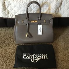 Birkin Style Bag by Carbotti Real leather bag in taupe. Gold hardware  comparable to 35 cm. comes with long strap clochette with key and lock and  dust bag. 398d9bb84d30a