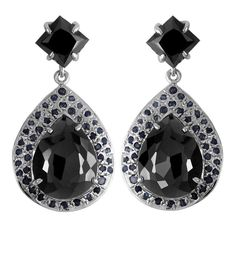 PEAR SHAPE BLACK DIAMOND EARRINGS WITH BLUE SAPPHIRE ACCENTS Black Diamond Earrings, Drop Earrings, Pear Shaped, Colored Diamonds, Blue Sapphire, Cufflinks, Gemstones, Accessories, Gems