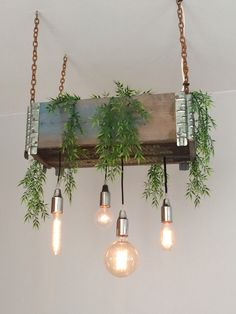 Pendant, copper, chains, lamp, hanging plant, up cycled, DIY, cafe, green, interior decor, wood, green branding. (Photo - Stine Nordskov Hansen) Fantastic vegan cafe in Copenhagen, Østerbro: Souls Melchiors Plads