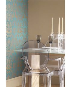 Desire Teal Wallpaper - see how lovely from the side?