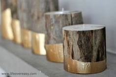 #DIY #Gold Dipped Log Candle Holders via http://lifeovereasy.com/ #candles Gold Diy, Diy Candles, Homemade Candles, Luxury Candles, Scented Candles, Candle Lanterns, Candleholders, Log Candle Holders, Gold Dipped