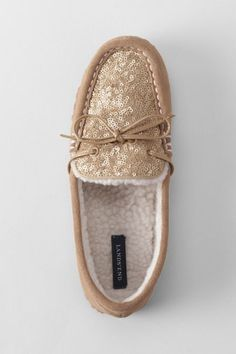 Women's Sequin Suede Moc Slippers from Lands' End