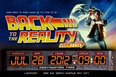 Back to the Future themed party invitation #party #invites #retro #backtothefuture