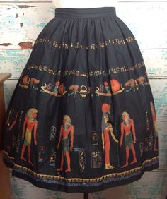 "Vtg Black Egyptian Novelty Print Border Circle Full Skirt S Small 28"" Waist 50s #Handmade #Everyday"
