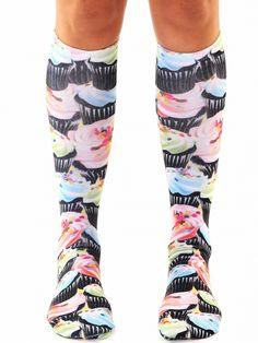 Cupcake Craze Knee High Socks (Black) #InkedShop #InkedMag #Craze #Knee #High #Socks #Black