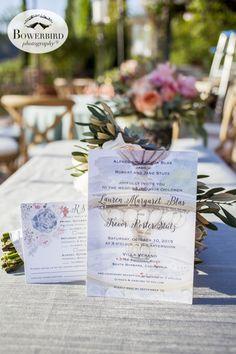 Santa Barbara Destination Wedding at Villa Verano. Wedding invitation with watercolor design. © Bowerbird Photography 2015. www.bowerbirdphotography.com