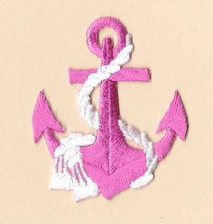Anchor - Nautical - Pink Anchor W/White Rope - Embroidered Iron On Patch by AlwaysBlessedAandP on Etsy