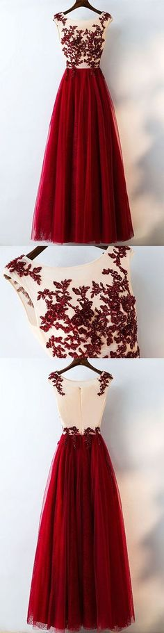 burgundy tulle lace applique long prom dress, burgundy evening dress, formal dress for teens