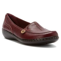 Clarks Ashland Scurry Burgundy Leather Loafers Shoes