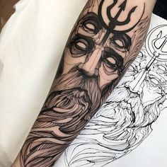 60 Stunning Ink Ideas For Men This Year - Straight Blasted Posseidon Tattoo, Tattoo Outline, Head Tattoos, Skull Tattoos, Black Tattoos, Body Art Tattoos, Cool Tattoos, Tattoo Sleeve Designs, Sleeve Tattoos