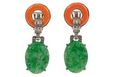 "Kenneth Jay Lane, Jade & Coral Deco Earrings - rhodium/resin/glass; 2""L x .75""W  $149"